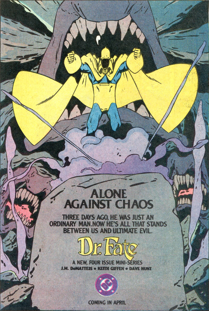 Dr Fate by DeMatteis, Giffen, Hunt advertisement