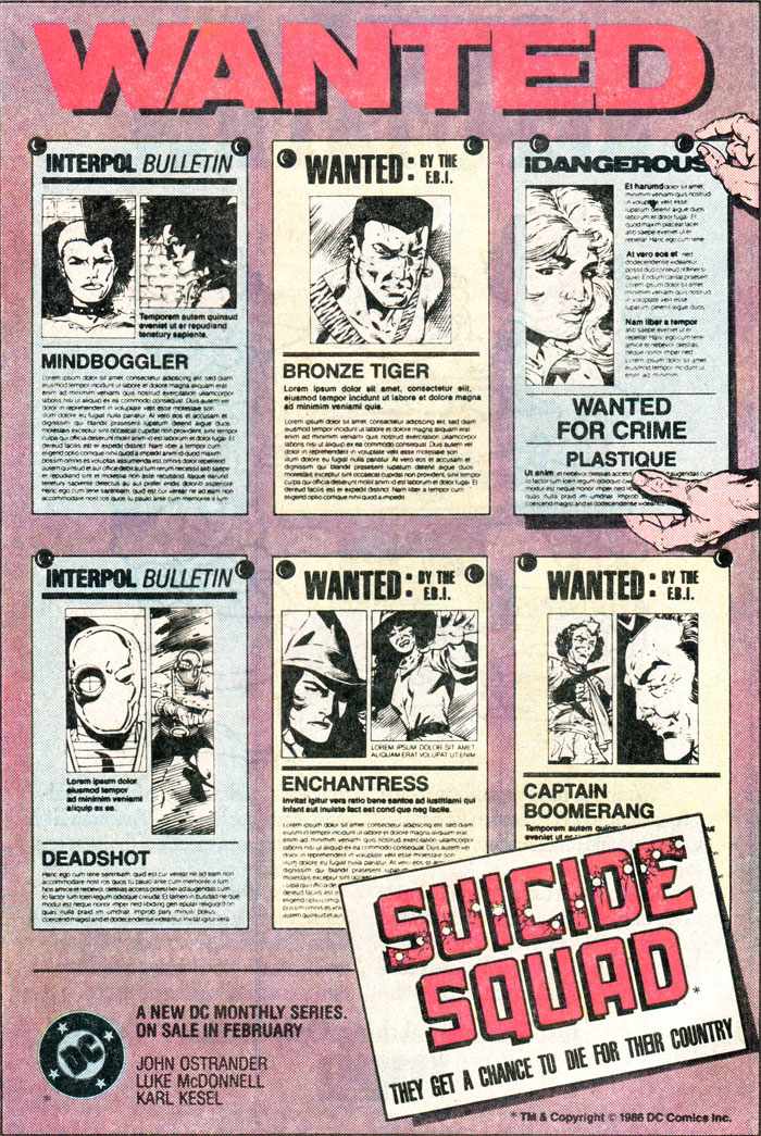 Suicide Squad by John Ostrander, Luke McDonnell, Karl Kesel advertisement