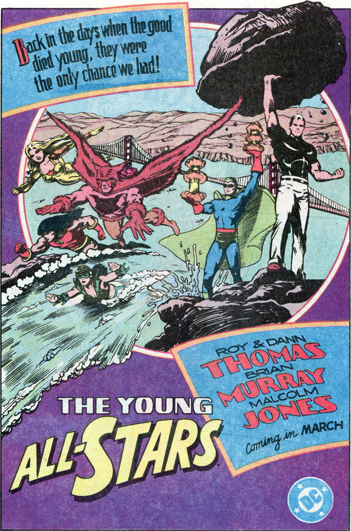 The Young All-Stars by Roy Thomas, Dann Thomas, Brian Murray, Malcolm Jones advertisement