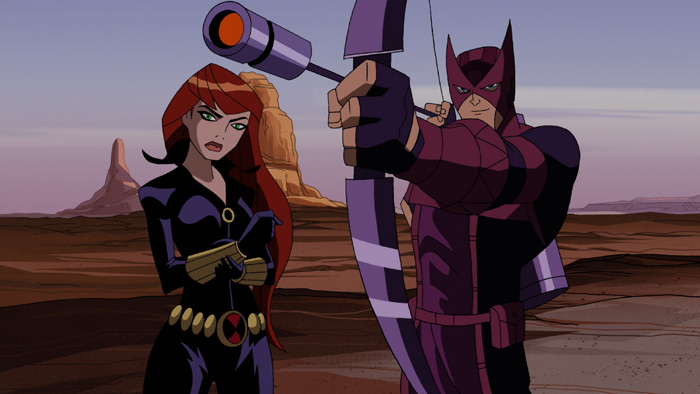 Hawkeye and Black Widow on The Avengers: Earth's Mightiest Heroes