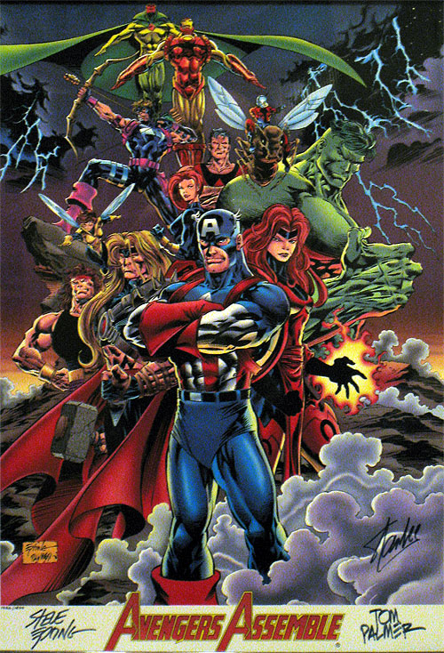 Avengers Assemble by Steve Epting and Tom Palmer, signed also by Stan Lee