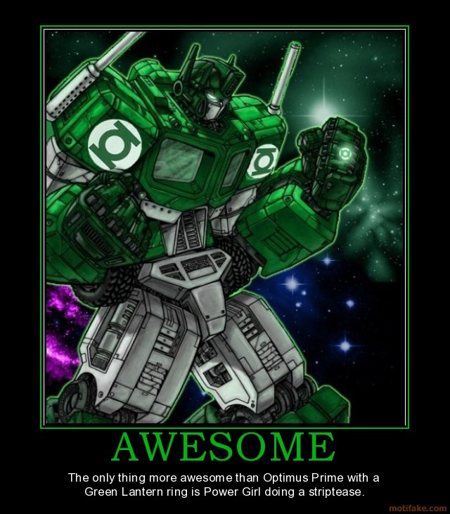 Awesome - Optimus Prime with a Green Lantern ring