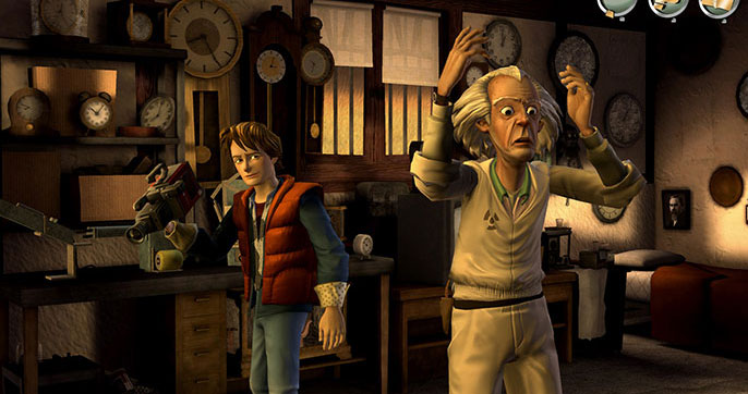 Back to the Future video game - Marty McFly and Doc Brown