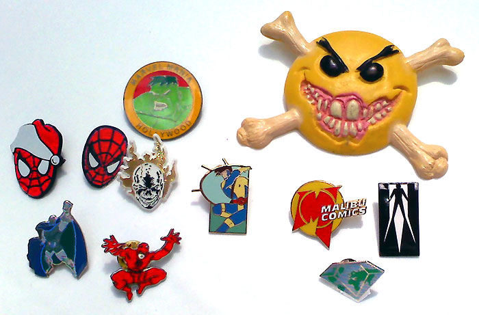 Pins from Marvel Comics, Valiant Comics, Malibu Comics, and more