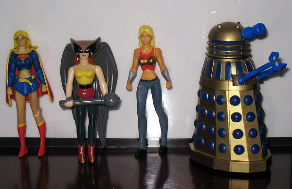 My Daughter's Toys - Supergirl, Hawkgirl, Wonder Girl, and a Dalek