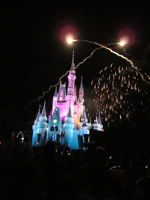 Fireworks over Cinderella's Castle in the Magic Kingdom at Walt Disney World in December 2010