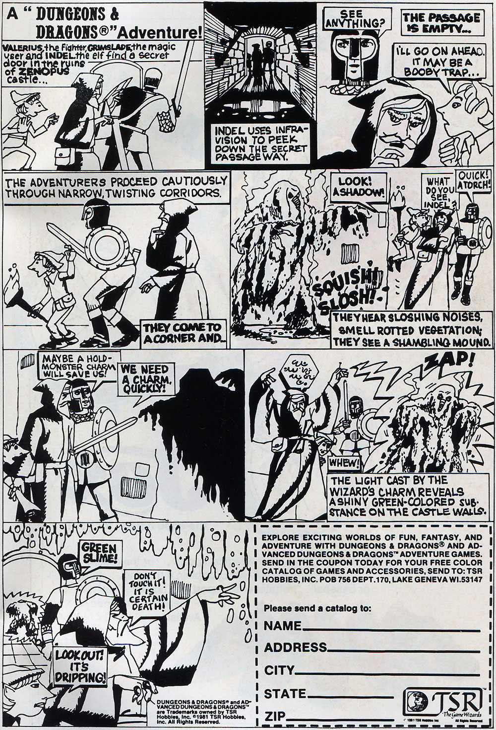 Dungeons and Dragons comic book ad 1981
