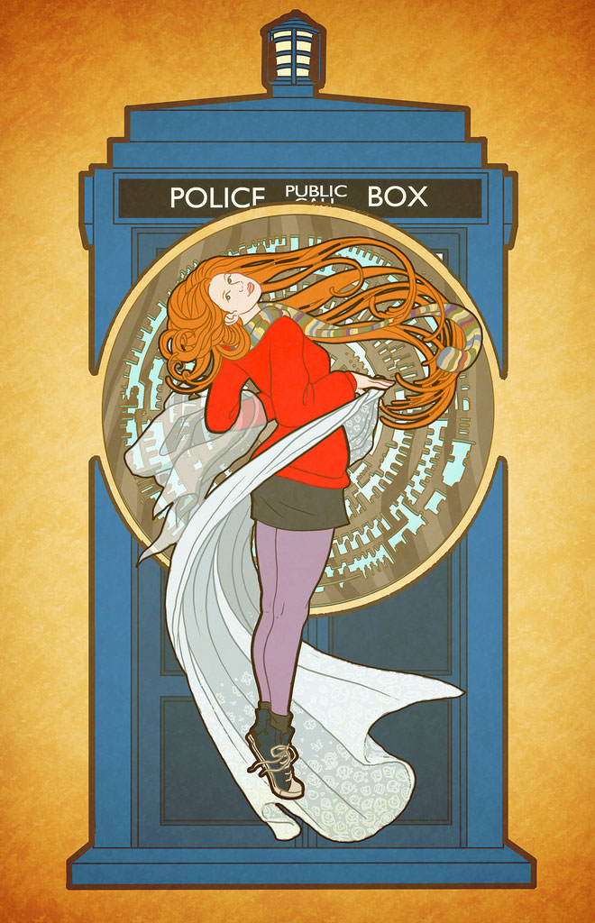 Doctor Who by Bill Mudron - Amy Pond (by way of Alphonse Mucha)