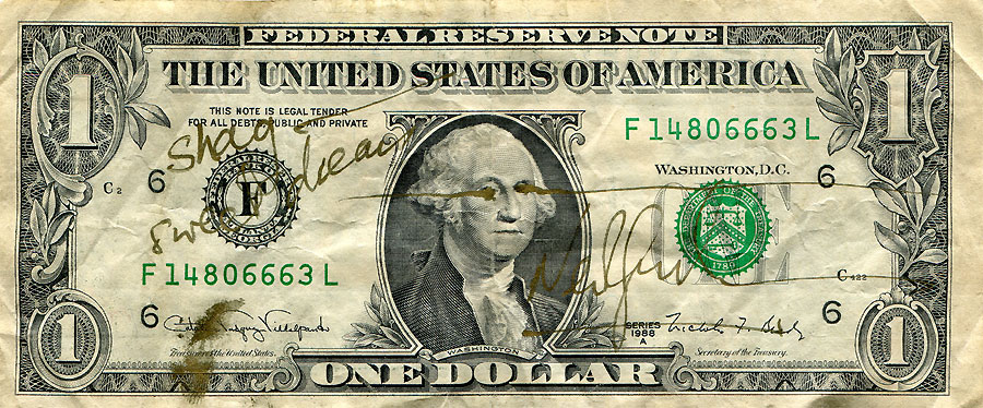 Neil Gaiman signed my one dollar bill