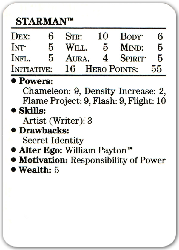 Will Payton Starman from 1989 Mayfair DC Heroes Role-Playing Game