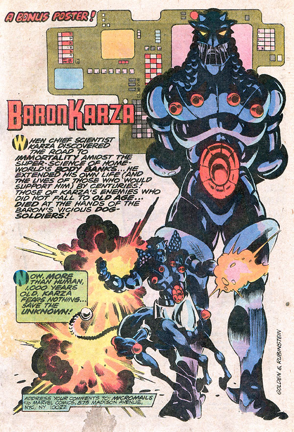 Micronauts Baron Karza by Bill Mantlo, Michael Golden, and Joe Rubinstein
