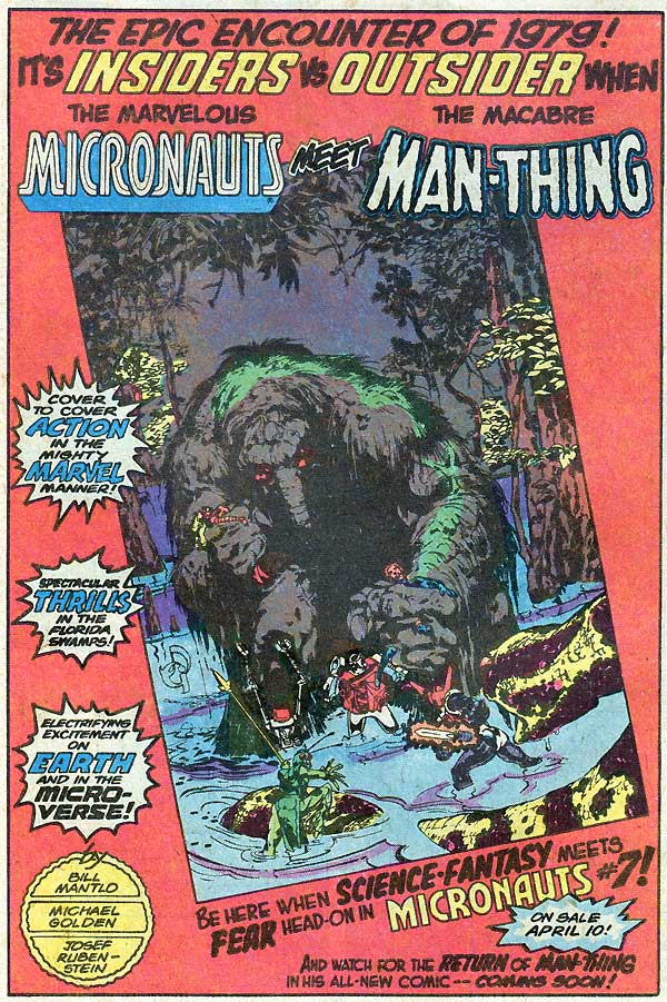 Man-Thing in Micronauts #7 by Bill Mantlo, Michael Golden, and Joe Rubinstein