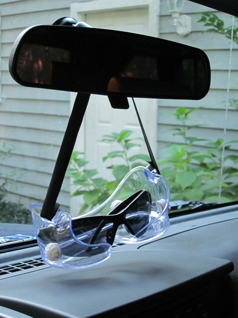 Rear view mirror lab goggles for sunglasses