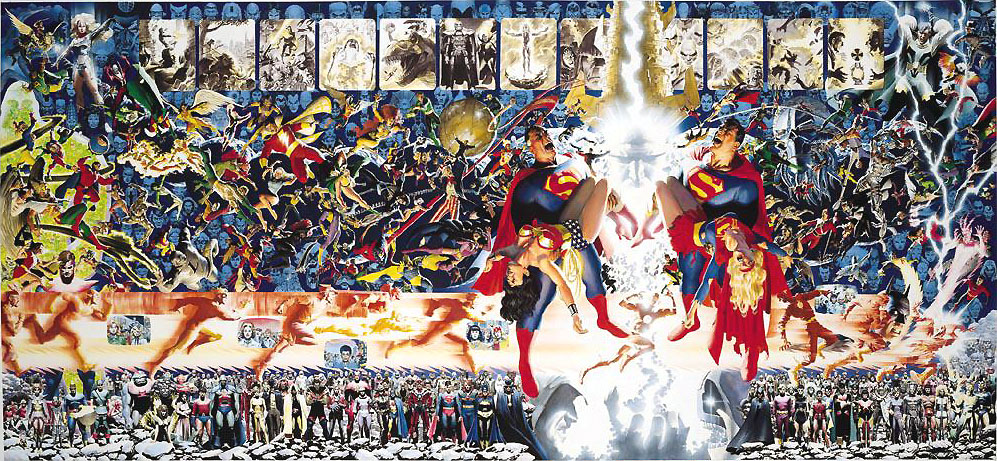 Crisis on Infinite Earths poster by George Perez and Alex Ross