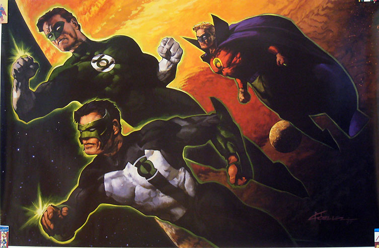 Green Lantern poster - Kyle Rayner, Hal Jordan, and Alan Scott by Christopher Moeller