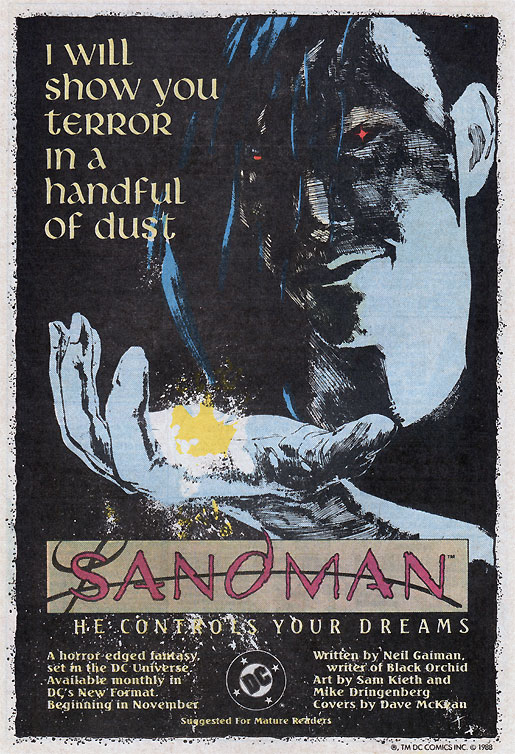 Sandman by Neil Gaiman advertisement 1988