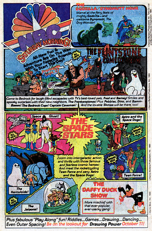 NBC Saturday Morning Cartoon ad - 1980