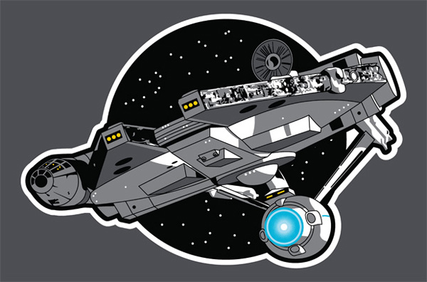 Star Wars: Millenium Falcon/Enterprise on TeeFury